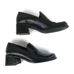 Franco Sarto Black Leather Heel Slip On Size 6.5